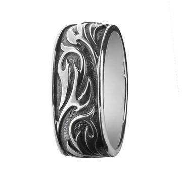 Tribal Black Rock Ring 925