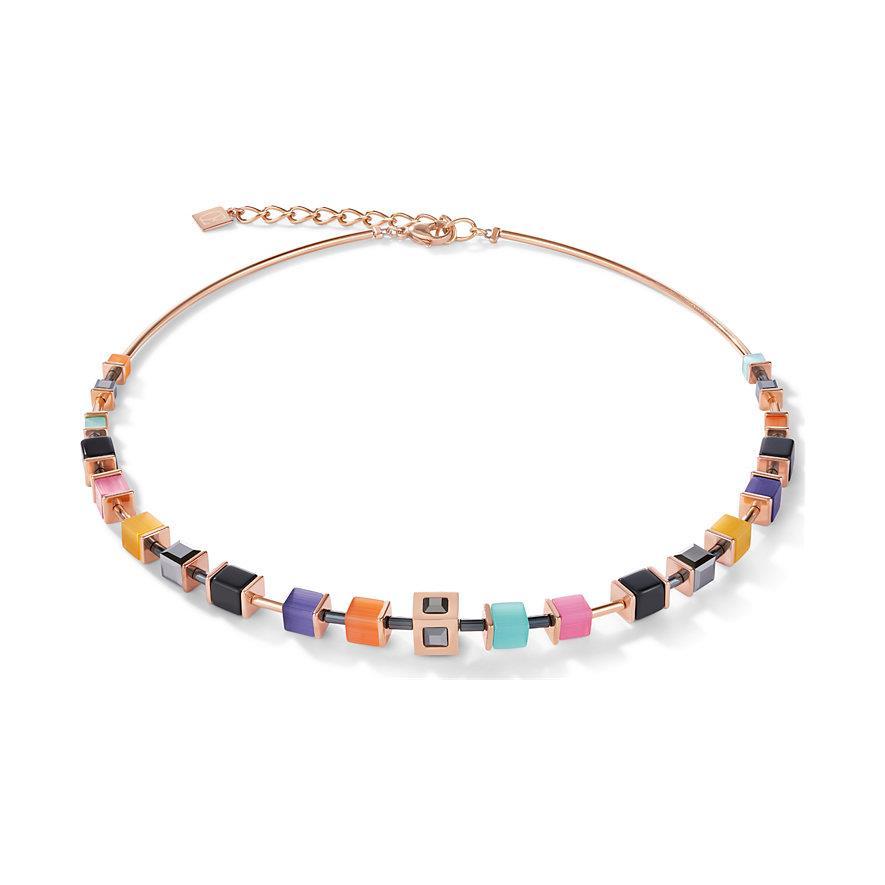 Halskette GeoCUBE® roségold & Kristall multicolor