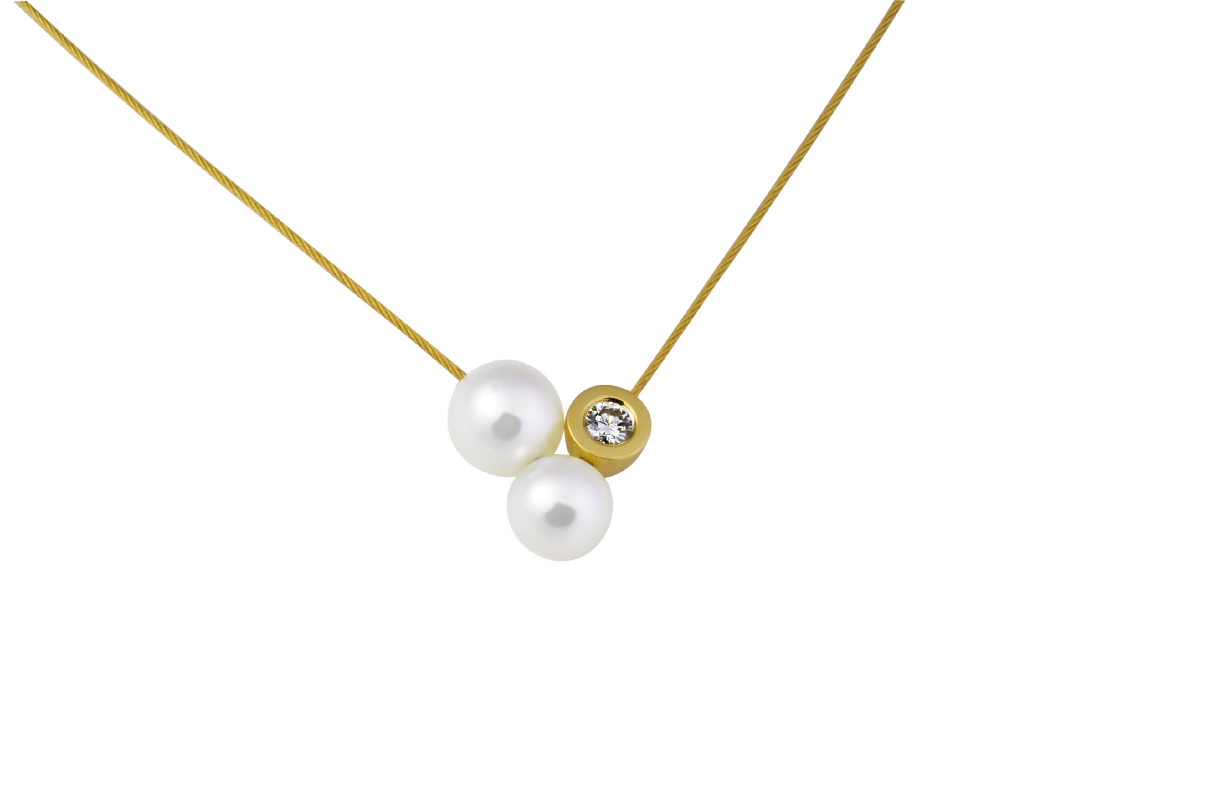 Collier mit Brillant + Perlen