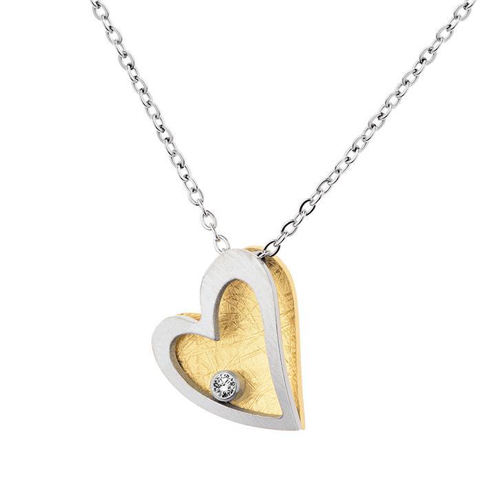 Herzkette mit Brillant Stahl/Gold 0.02ct