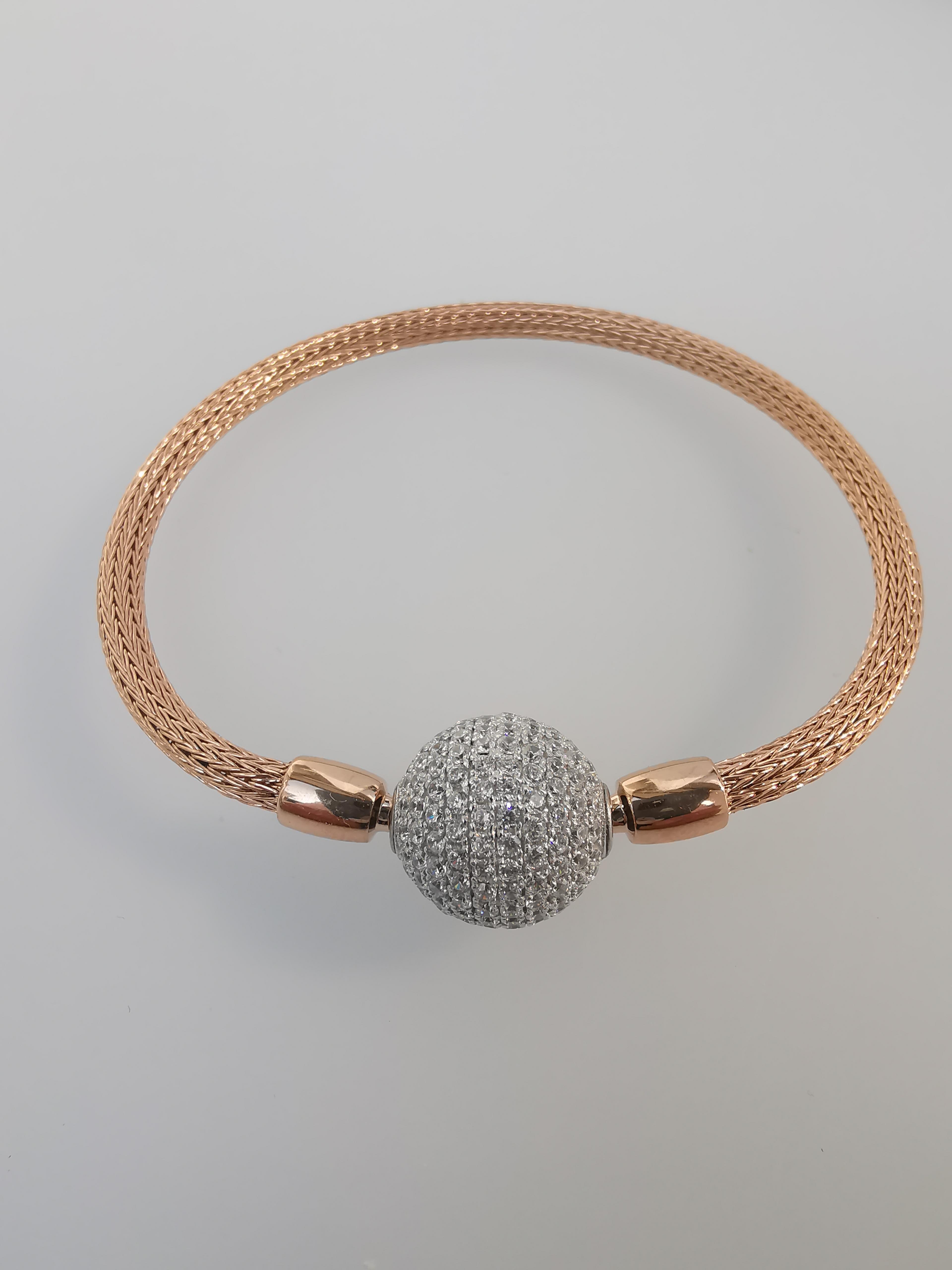 Armband Strickkette 750 18 Karat Rotgold