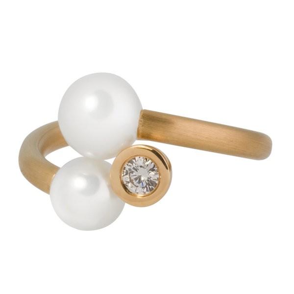 """""""Drilling"""" Ring mit Brillant und Perlen"""