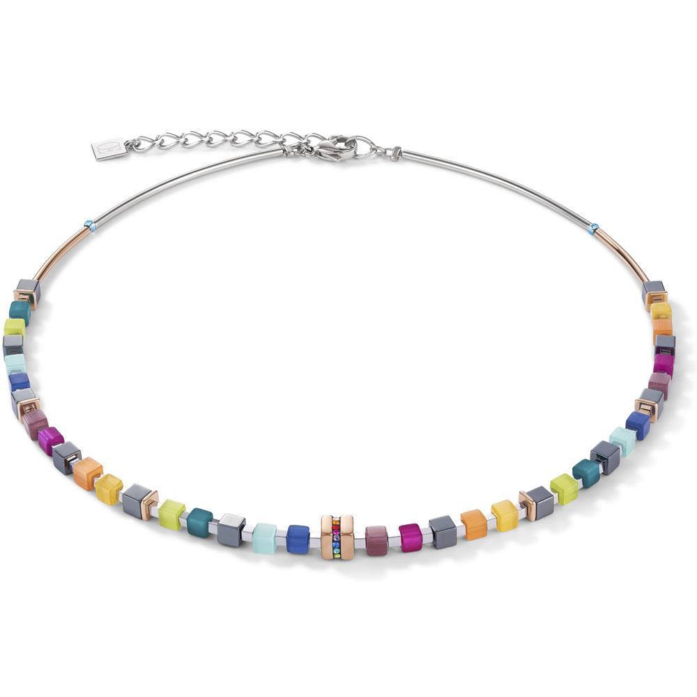 Halskette GeoCUBE® Edelstahl roségold & Kristall